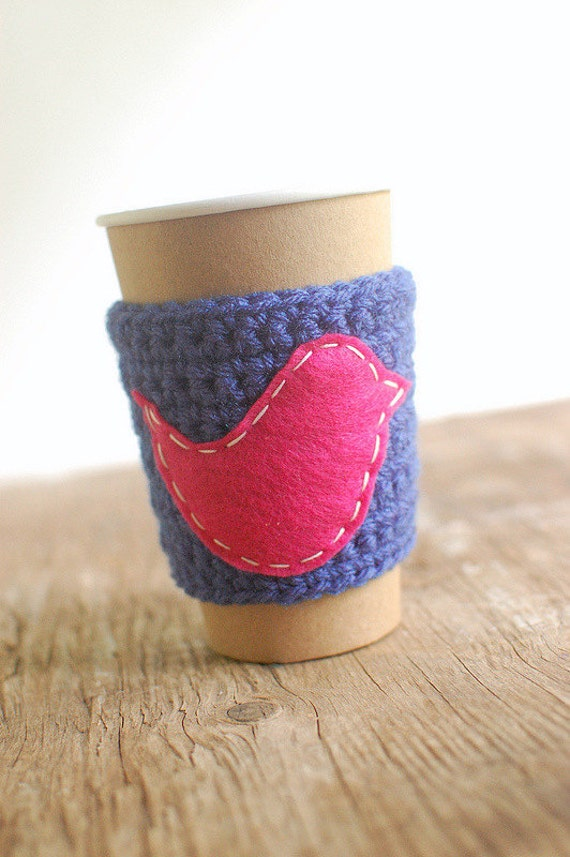 Coffee Cup Cozy, Crochet Coffee Sleeve, Reusable Coffee Cozy, Blue Cup Sleeve with Pink Bird by the Cozy Project