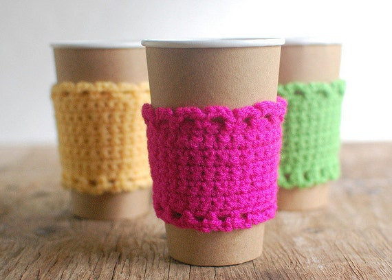 Neon Cup Cozy, Crochet Coffee Sleeve, Reusable Cup Cozy, Neon Coffee Cozy by The Cozy Project