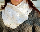 Hand Knit Chunky Cowl Cabled Scarf-Winter White with Sequins