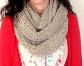 Hand Knit Chunky Cowl Scarf-Infinity Scarf In Llama Ready to ship