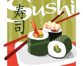 "Sushi Japanese Food Chop Sticks - Art Print Digital Illustration - 8"" x 10"""