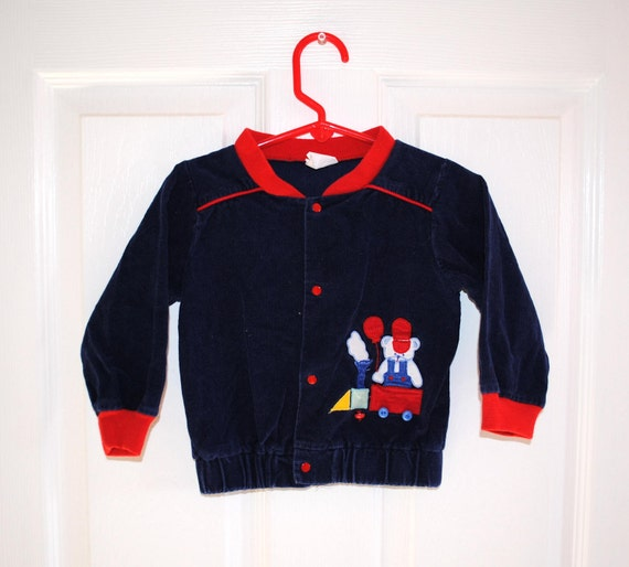 VTG 80s Corduroy Bear Train Toddler Jacket