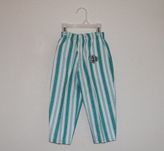 Teal and White Stripe Buster Brown Beach pants 3t
