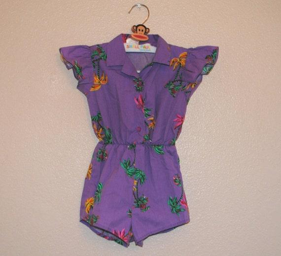 VTG Purple Palm Tree vintage 80s Jumper (2t)