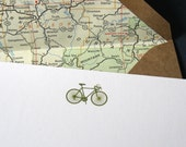 A6 engraved bicycle note cards with vintage road maps - Olive