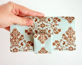 SALE Checkbook Cover Aqua and Brown Damask - Single or Duplicate Checks - Lily and Will Bunny Hill Cottontail Toile
