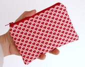 Coin Purse Change Pouch Red and Pink Hearts -  iPhone or Gadget Case