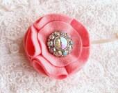 Rhinestone Rosette Brooch - Purse or Lapel Pin - Cotton Candy, Iridescent Jewel