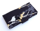 Bifold Bird Wallet - Smart Phone Clutch -  Joel Dewberry Aviary 2 Sparrows in Cavern - Wristlet Option