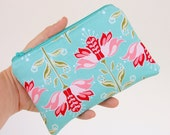 iPhone or Gadget Case - Change Purse Coin Pouch The Quilted Fish Floral in Blue Apple of My Eye Riley Blake