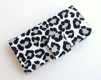 Women's Slim Wallet - Snow Leopard Bifold Wallet - Wristlet Option - Smartphone Clutch - 6 Credit Card Slots - MADE to ORDER