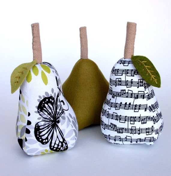 SALE Home Decor Pears - Set of Three - Moss Green, Black, and White - Hostess Gift - Springtime