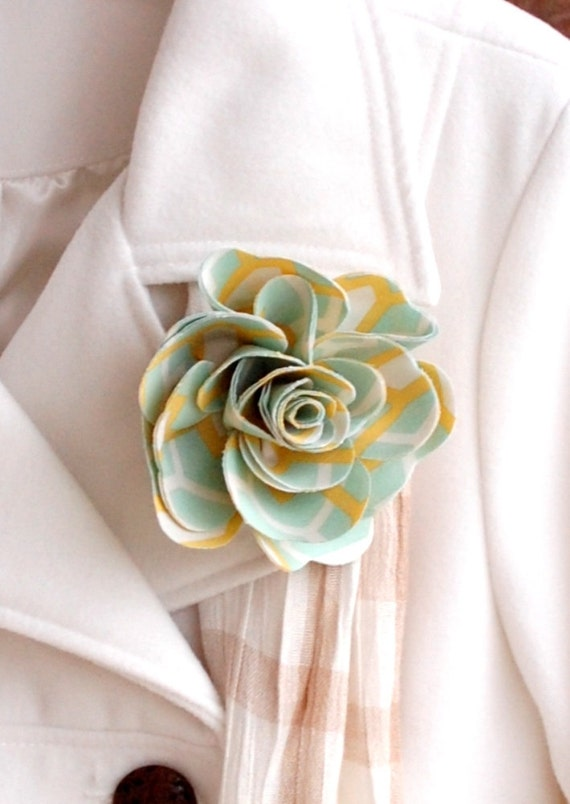 Lapel or Purse Pin - Aqua and Mustard - Rose - In Stock - teen gift - gift for her - whimsical