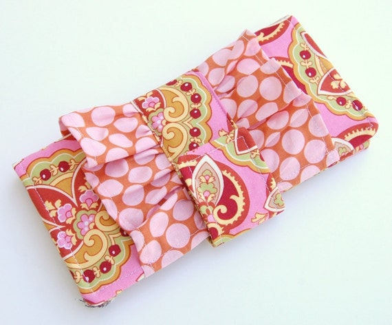 Sassy Ruffle Wallet - Smart Phone Clutch - Amy Butler Lotus Star Paisley Full Moon Dots - Wristlet Option