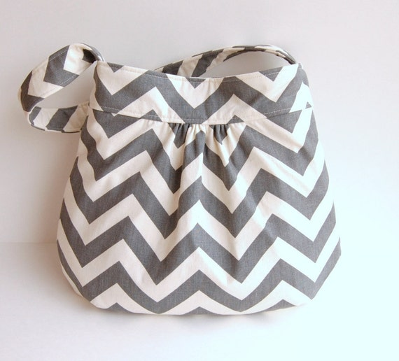 Custom Chevron Gathered Hobo Purse - Choose Your Lining Fabric - Charcoal Gray - MADE to ORDER - Crossbody Adjustable Strap Option