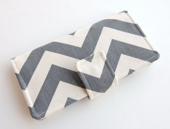 Women's Bifold Wallet - Wristlet Option - Smart Phone Wallet - Grey Chevron Canvas- Choose Your Accent Fabric