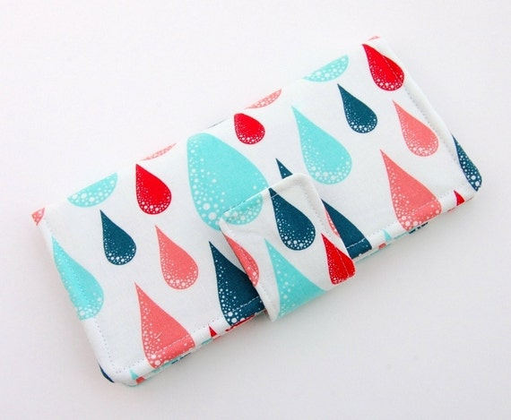 Raindrop Women's Bifold Wallet - Smart Phone Clutch -  Red, Aqua, Pink - Wristlet Option Also Available - The Pokey Rose