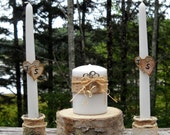 Unity Candle sleeves and Candle  Holders set  made of white birch