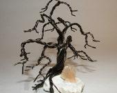 Oak Wire Tree Bonsai, on piece of Mordenite with orange Heulandite Crystal