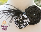 Black and White Satin and Feathers Wedding Hair Accessory...............The Princess in Pigtails Designs