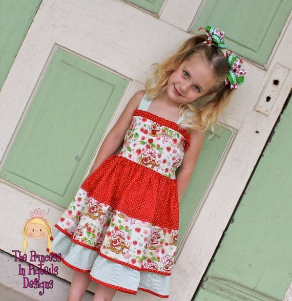 Little Miss Shortcake-  Strawberry Shortcake Inspired Girls Knot Style Twirl Dress........The Princess in Pigtails Designs