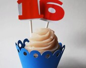Number Cupcake Toppers In Your Choice of Color Qty 12 By Your Little Cupcake