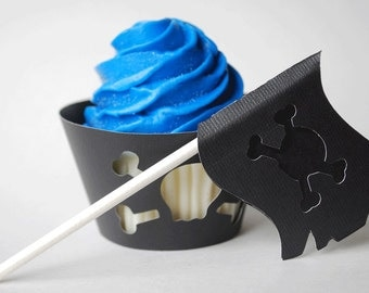 Skull and Crossbones Cupcake Toppers In Your Choice of Color Qty 12 By Your Little Cupcake