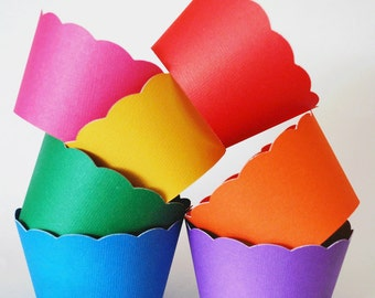 Rainbow Cupcake Wrappers In Your Choice of Color Qty 12 By Your Little Cupcake