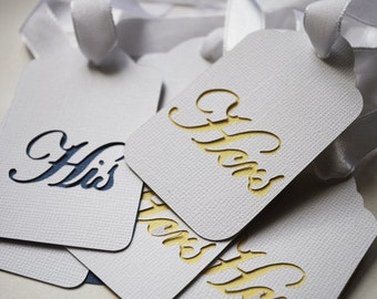 His and Hers Double Layered Wedding Bridal Shower Hang Tags In your choice of color Qty 6 By Your Little Cupcake