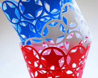 Stars Cupcake Wrappers In Your Choice of Color Qty 12 By Your Little Cupcake