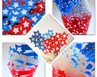 Independence Day 4th of July Themed Party Set, 6 wrappers and 6 toppers By Your Little Cupcake