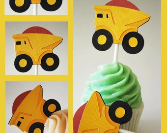 Dumptruck Cupcake Toppers In Your Choice of Color Qty 12 By Your Little Cupcake