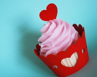Valentines Day Sweet Heart Cupcake Wrappers In Your Choice of Color Qty 12 By Your Little Cupcake