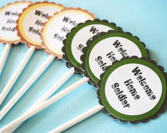 Welcome Home Soldier Cupcake Toppers Set of 12 By Your Little Cupcake