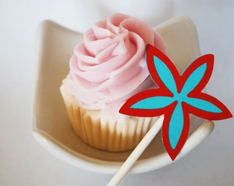Plumeria hawaiian Flower Cupcake Toppers Set of 12 By Your Little Cupcake