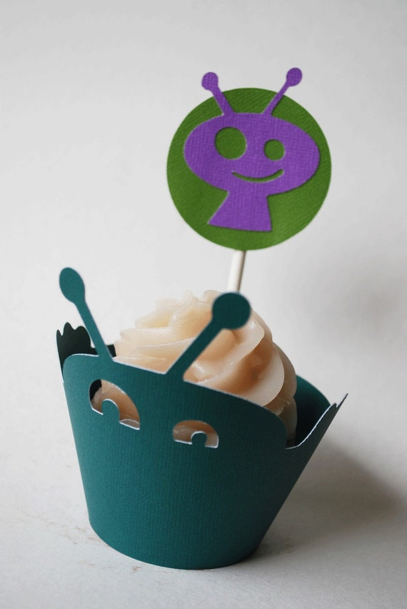 Alien Cupcake Toppers In Your Choice of Color Qty 12 By Your Little Cupcake