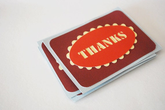Thanks Note Card Flats In your choice of colors Qty 12 By Your Little Cupcake