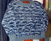 Blue Textured Sweater - Child Size 8 - Matches Doll Sweater - Back to School Sweater - Boy Girl Sweater - Warm Hand Knit Sweater - Item 3047