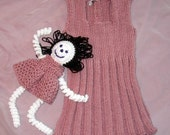 Girls Knit Jumper Dress Toddler Size 4 and Matching Doll - Item 3052