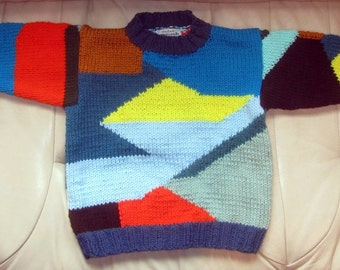 Patchwork Sweater - Child 4-5 - Hand Knit Intarsia Technique - Knitted in Design - Colorful Child Sweater Jumper - Bright Colors - Item 3015