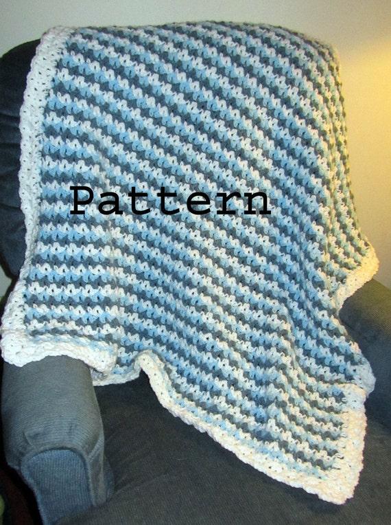 Easy Crochet Patterns For Lap Blankets : Crochet Pattern Tri Color Baby or Lap Blanket DIY Easy