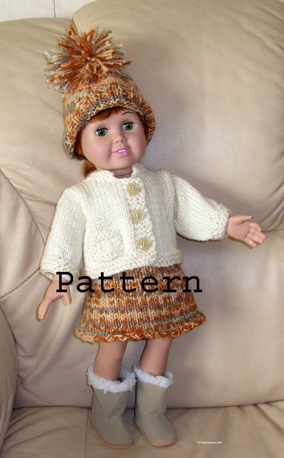 Knitting Pattern Doll Cardigan : 18 Inch Doll Knit Pattern Cardigan Skirt Hat Easy DIY Knit