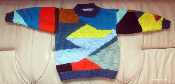 Patchwork Sweater - Child 4 - Hand Knit Intarsia Technique - Knitted in Design - Colorful Child Sweater Jumper - Bright Colors - Item 3015