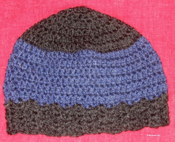 Chemo Cap - Charcoal Grey  and Blue - Soft Wool Blend