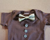 Chocolate Brown Onesie with Cream Bow Tie