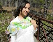 "green silk scarf ""Spring Flower"""