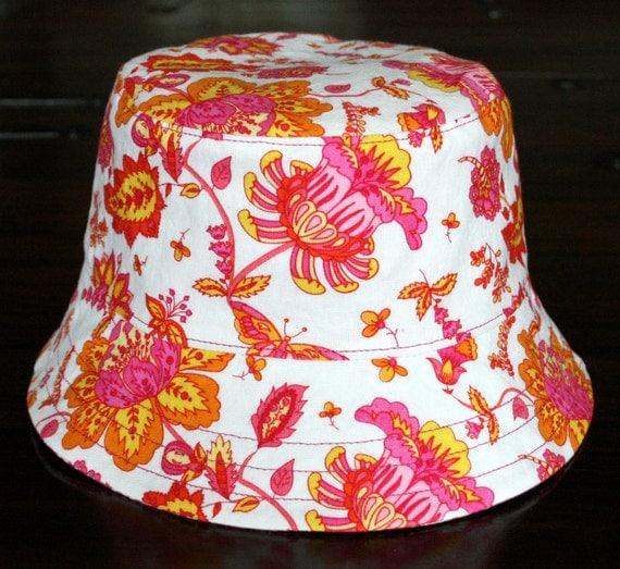 girl's sun hat, sunset, reversible, 5 sizes