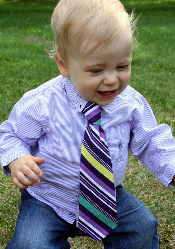 boy's necktie, purple multi-stripe, baby toddler youth sizes