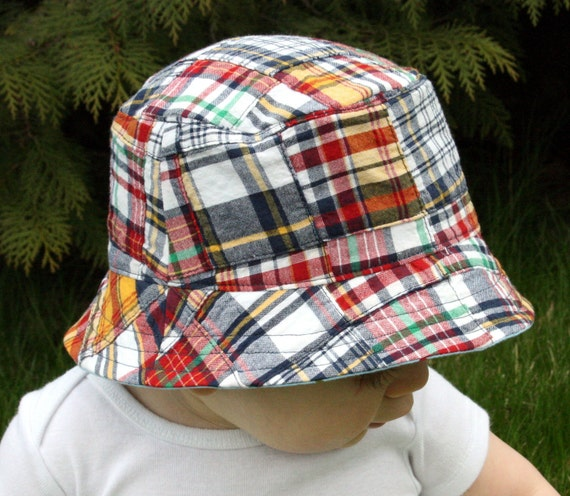 reserved listing for rachellauren12, seaside patchwork plaid bucket hat  with chin strap - LAST ONE