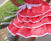 Red and White girl ruffle dress in white Flowery prints